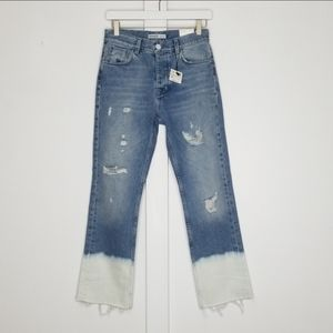 NWT Zara distressed dip dyed bleached jeans size 2